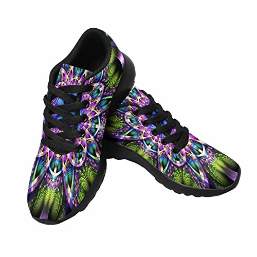 InterestPrint Womens Trail Running Shoes Jogging Lightweight Sports Walking Athletic Sneakers Symmetrical Fractal Pattern With Shiny Strips Multi 1 YH7615P