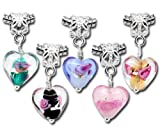 Best Dangle Charms Of Hearts - Housweety 20PC Mixed Glass Heart Dangle Beads Fit Review