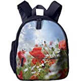 Haixia Kid's Boys'&Girls' Bookbags with Pocket Country Decor Idyllic Spring Meadow with Poppy and Daisy Flowers Sunny Sky Clouds Garden Decorative