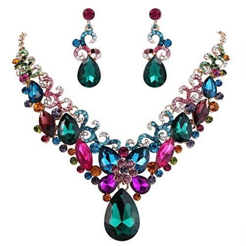 BriLove Costume Fashion Necklace Earrings Jewelry Set for Women Crystal Teardrop Marquise Butterfly Filigree Enamel Statement Necklace Dangle Earrings Set Multicolor Colorful Gold-Toned