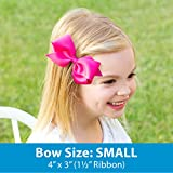 Wee Ones Girls' Medium Bow 3 pc Set Solid Grosgrain Variety Pack on a WeeStay Clip - White, Light Pink and Hot Pink