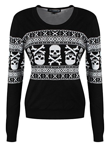 Sourpuss-Womens-Skull-N-Bones-Sweater-Black