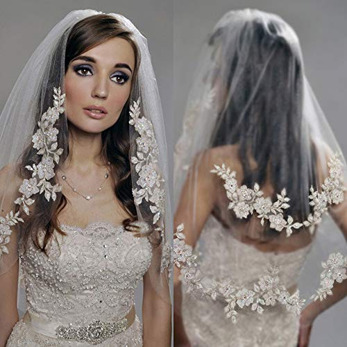 Kercisbeauty Wedding Bridal Lace Double layer Veil Drop with Hair Comb Flower Lace and Pearl Chapel Hair Accessories (White)