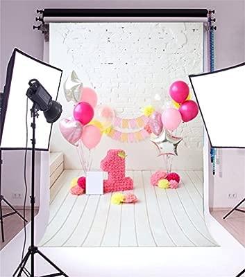 YongFoto 2x3m Fondo de Fotografia Feliz Primer cumpleaños Day Ribbon Globos Coloridos Flores Papel Pared ladrillo Blanco Interior Tablero Madera Rayas ...