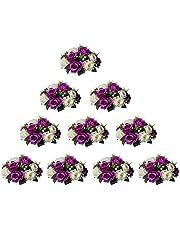 Nuptio konstgjorda blommor, bollarrangemang, bukett, 15 huvuden plastrosor med bas, lämpliga för butik, bröllop, mittpunkt, blomställ för fester, alla hjärtans dag, heminredning