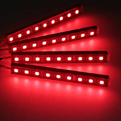 Car Interior Decoration, NERLMIAY 4pcs Atmosphere Light-LED Car Interior Lighting Kit Waterproof, Interior Atmosphere Neon Lights Strip for Car (red): Automotive