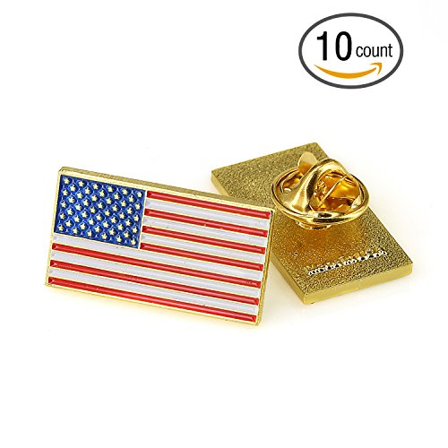 TONOS Rectangle American Flag Necktie Clip and Lapel Pin -The Stars and Stripes Lapel Pin-10 Pack Gold American Flag Pin