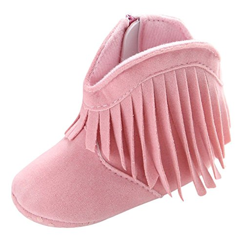 Weixinbuy Baby Girl's Tassel Soft Bottom Non-Slip Cowboy Boots Toddler Shoes Pink ()