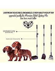 """Pet Poop Scoop Dog Waste Removal Quality Stainless Steel Lightweight Adjustable 3 Piece Set Long Sturdy Handles Premium Tray - Rake and Spade Scraper Garden Tools 37.8"""" Length Clean Up Set"""