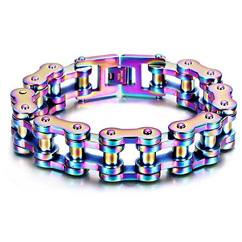 - Qiaonitu 19mm Fashion Charm Men's Stainless Steel Rainbow Motorcyle Bicycle Bike Biker Chain Bracelet Jewelry (Rainbow 22cm x 22mm)