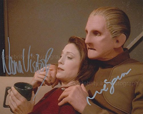 RENE AUBERJONOIS and NANA VISITOR as Constable Odo and Major Kira - Star Trek: DS9 GENUINE AUTOGRAPHS