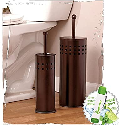 Toilet Brush & Toilet Plunger Bath Set - Oil Rubbed Bronze Finish - Bathroom Household Supplies Accessories and FREE Bonus 23 oz Water Bottle by ©Homecricket