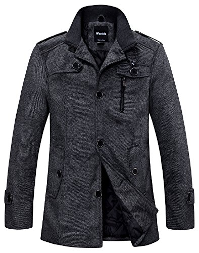 Wantdo Men's Winter Wool Blend Pea Coats US XX-Large Dark Grey