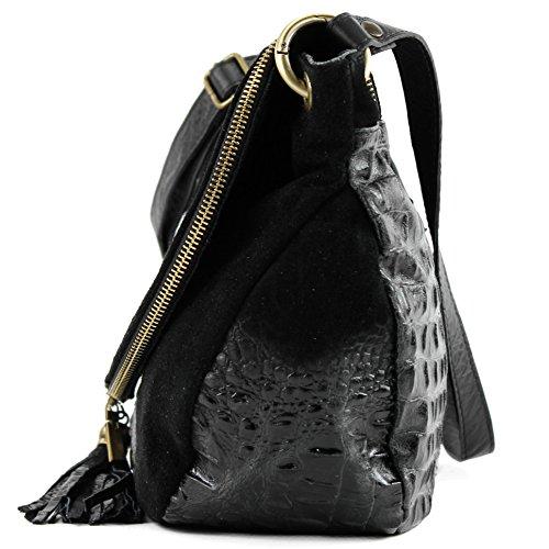 pour Sac Kroko cuir Schwarz sacoche italien sac nappa cuir sac main Wildleder sac à T68 femme 44qTr15