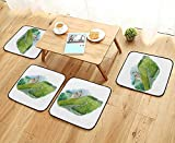 UHOO2018 Anti-Skid Chair Cushions Vineyard Landscape Scene French Wine Label Raster Artwork Health is Convenient W19.5 x L19.5/4PCS Set