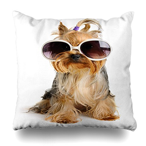 Asoco Throw Pillow Covers,Yorkie in Glass Double-Sided Pattern Sofa Cushion Cover Couch 18 x 18 inch Decorative Home Gift Bed Pillowcase Summer Tropical Sea Beach Style Hidden Zipper ()