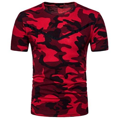 (Mens T-Shirt ! Charberry Mens Camouflage Short Sleeve Print Top T-Shirt (US-L/CN-XL, Red))
