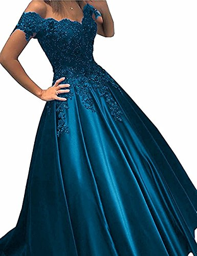 Sheath Strapless Column (TbDesses Off Shoulder Lace Prom Dresses Long Puffy Evening Dresses Ball Gown)