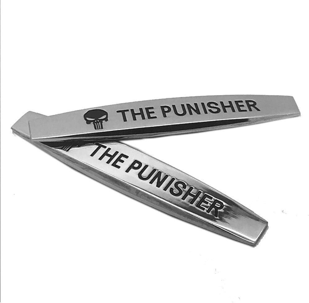 2 Pack/_B Joy4Fun 2 Pack 3D Metal Punisher Skull Fender Emblem Silver Chrome Car Side Wing Badge Sticker