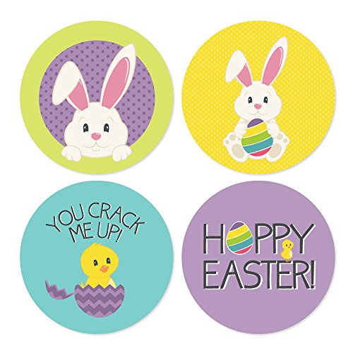 Big Dot of Happiness Hippity Hopptiy - Assorted Easter Bunny Party Circle Sticker Labels - 24 Count