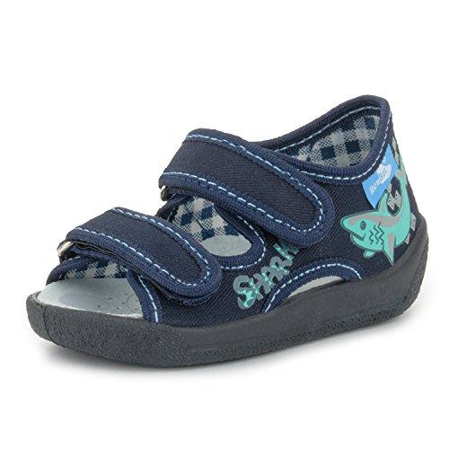 (RenBut 13-112 Navy Blue Toddler Boys Open Toe Velcro Canvas Sandal, 23 M EU/8 M US Toddler)