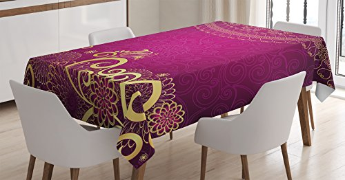 Indian Tablecloth - Ambesonne Purple Decor Tablecloth, Ethnic Indian Mandala Circle with Ornate Swirling Details Asian Royal Arabesque Theme, Rectangular Table Cover for Dining Room Kitchen, 60x84 Inches, Violet Gold