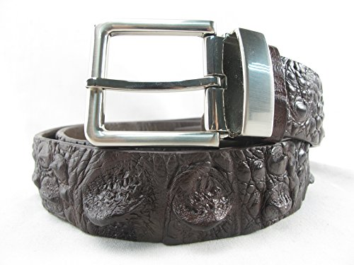 PELGIO Genuine Crocodile Alligator Head Bump Skin Leather Belt 46
