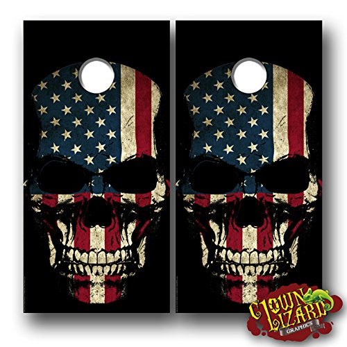 CL0065 Flag Skull CORNHOLE LAMINATED DECAL WRAP SET Decals Board Boards Vinyl Sticker Stickers Bean Bag Game Wraps Vinyl Graphic Image Corn Hole American America by Clown Lizard Graphics
