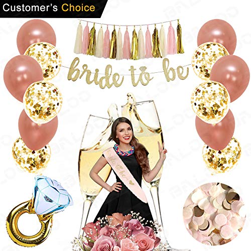 Rose Gold Bridal Shower Decorations 31PCS bachelorette gifts Bride To Be Banner,Sash,Tassel,12inch Rose Gold Confetti balloons bachelorette party supplies (Bride to be GOLD GLITTER BANNER) for $<!--$16.99-->