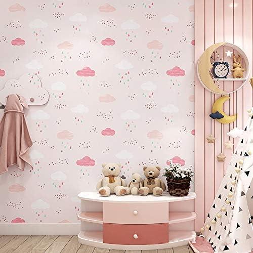 漫画の雲 壁紙 ロール,カラフルな雨滴の壁,じゃない-少年少女子供のための織り壁壁画'S ルーム ピンク 0.53*10m