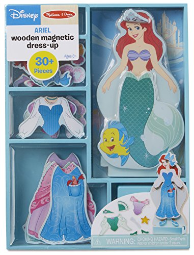 Melissa & Doug Disney Ariel Magnetic Dress-Up Wooden Doll Pretend Play Set (30+ Pieces) -
