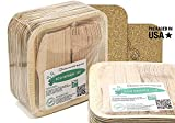 """Party Pack of 150 Eco-Friendly Dinnerware - 50 Disposable 8"""" Square Palm Leaf Plates, 50 Wood Forks, 50 Wood Knives"""
