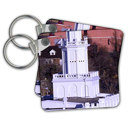 Jos Fauxtographee- Temple Spire St. George - A close up of the Spire on the St. George Temple in white - Key Chains - set of 2 Key Chains (kc_302263_1)