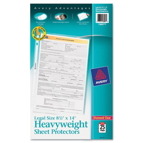 AVERY 73897 Top-Load Polypropylene Sheet Protector, Heavy, Legal, Clear, 25/Pack (AVE73897), 4 Packs ()
