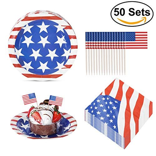 Party Disposable Paper Plates Pack with 50 Plates, 50 Napkins and 50 Mini American Flags for Veterans Day, Labor Day, Flag -