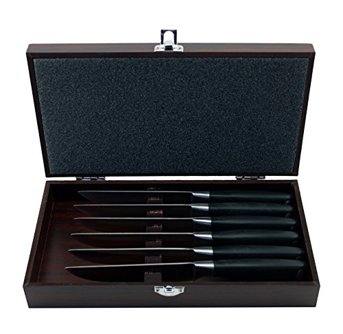 BergHOFF 6 Piece Bistro Steak Set with Wooden Case, Silver