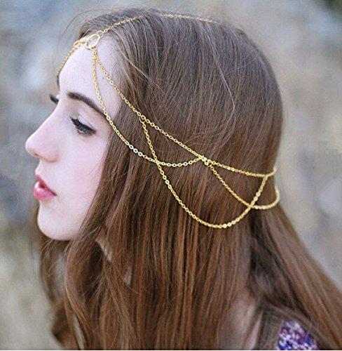 Aegenacess Gold Draped Multiple Hair Chain Headband with Center Circles Jewelry Barrette Sexy Head Accessory Boho Kardashian Head Piece Prom Hippie Wedding Headpiece Festival Summer Christmas