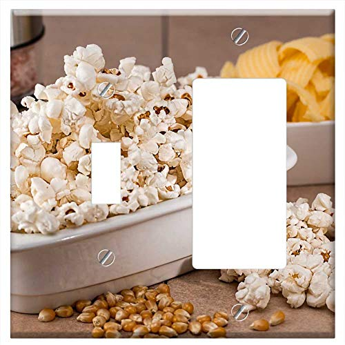 (1-Toggle 1-Rocker/GFCI Combination Wall Plate Cover - Popcorn Snack Salty Food Eat Tasty White Corn)