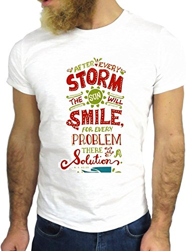 T SHIRT JODE Z1439 STORM SMILE PROBLEM SOLUTION LIFESTYLE FUN COOL FASHION GGG24 BIANCA - WHITE L