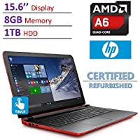 HP Pavilion 15.6-inch HD Touchscreen (1366x768) Laptop PC, AMD Quad Core A6-6310 APU, 8GB DDR3 SDRAM, 1TB HDD, DVD, HDMI, B&O PLAY with dual speakers, Windows 10- Red (Certified Refurbished)