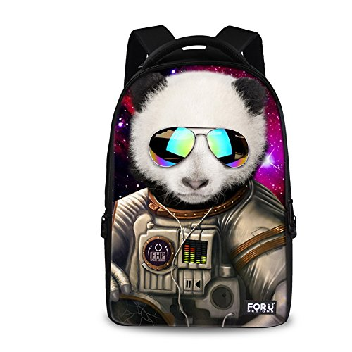 FOR U DESIGNS Wolf Tiger Panda Bear Print Animal Backpack for Teens