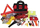 Thrive Roadside Assistance Auto Emergency Kit + First Aid Kit - Rugged Tool Bag - Contains Jumper Cables, tools, Reflective Safety Triangle and more. Ideal winter accessory for your car or truck