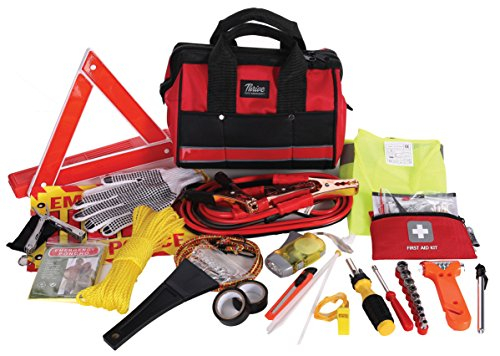 Thrive Auto Emergency Kit + First Aid Kit   Car Accessories Roadside Assistance & Survival Rugged Tool Bag With Jumper Cables, Reflective Safety Triangle And More   Cars Travel & Tow Essentials