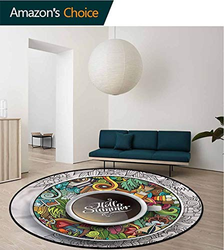 (RUGSMAT Coffee Warm Soft Cotton Luxury Plush Baby Rugs,Summer Doodles Saucer Artsy Protect Floors While Securing Rug Making Vacuuming Diameter-55)