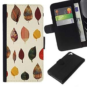KLONGSHOP // Tirón de la caja Cartera de cuero con ranuras para tarjetas - Patrón de otoño Arte Naturaleza Amarillo - HTC Desire 820 //