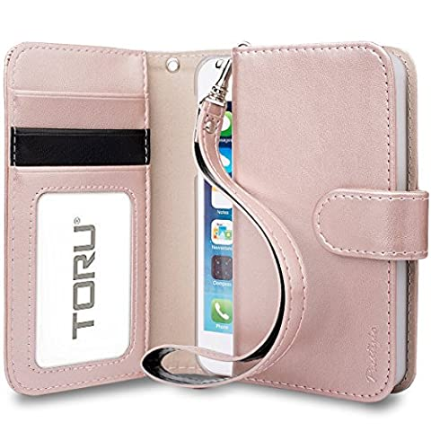 iPhone SE Case, TORU [Prestizio iPhone SE Wallet Case] Card Slot Holder Foldable Flip Cover with Kickstand and Wrist Strap for iPhone SE / iPhone 5S / iPhone 5 - Rose (I Phone 5s Case In Pink)