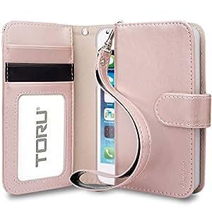Funda iPhone SE, TORU [PRESTIZIO] Funda cartera para iPhone 5 [Almacenamiento de tarjetas y carnés][Soporte][Correa] para iPhone 5s/5 - Oro Rosa