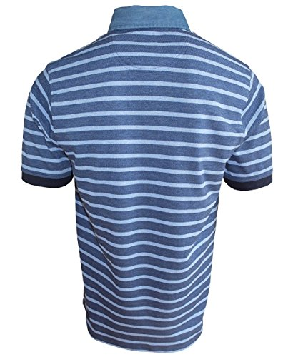 Baileys Polo Shirt in mittelblau hellblaumelange Baumwolle Button-Down Kragen Gr. M bis 4XL 515297-516