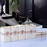 GTVERNH-Recipients Of Gifts Ceramic Bath Products Bath 5 Piece Set Bathroom Toiletries Kit Wc Ivory Porcelain Vanity Set B