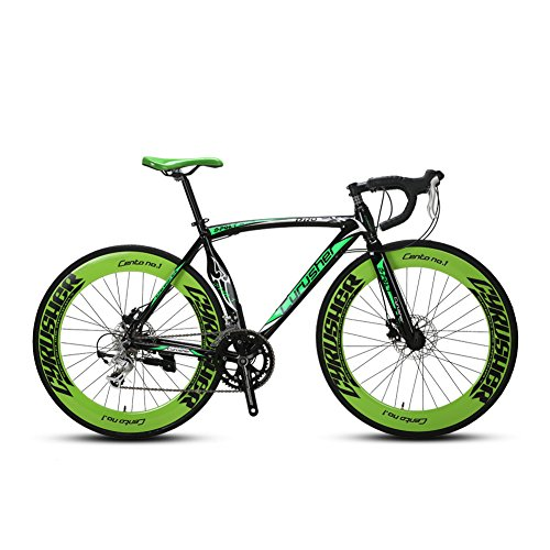 Extrbici Super Road Racing Bike 700C54cm Aluminium Frame Sturdy And Light Tourney ST Shifting System 14 Speeds Adjustable Disc Brakes Butterfly Handle Imported Main Component XC700 Bike (green) Extrbici